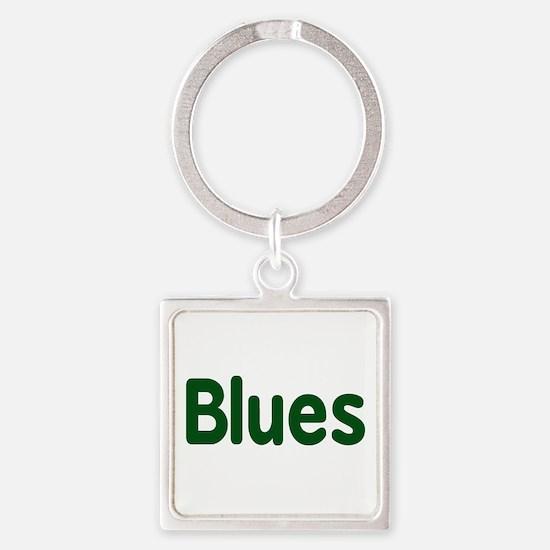 Blues word green music design Keychains