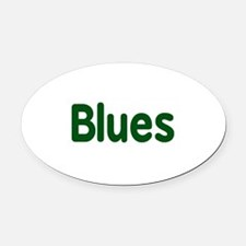 Blues word green music design Oval Car Magnet