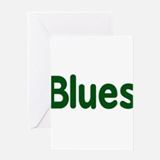 Blues word green music design Greeting Cards