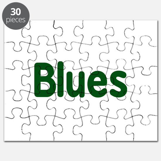 Blues word green music design Puzzle
