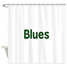 Blues word green music design Shower Curtain