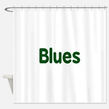 Blues word green music design Shower Curtain