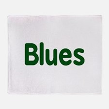 Blues word green music design Throw Blanket