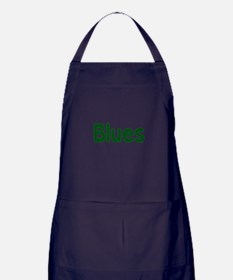 Blues word green music design Apron (dark)