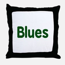Blues word green music design Throw Pillow