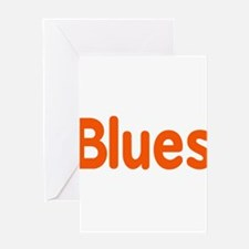 Blues word orange music design Greeting Cards