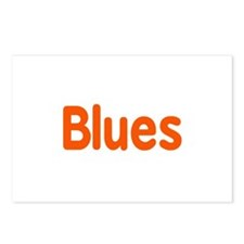 Blues word orange music design Postcards (Package