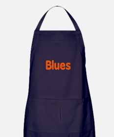 Blues word orange music design Apron (dark)