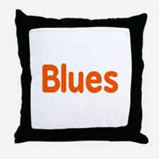Blues word orange music design Throw Pillow