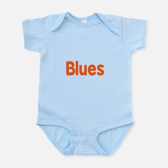 Blues word orange music design Body Suit