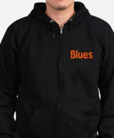 Blues word orange music design Zip Hoodie