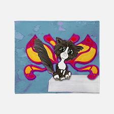 Tuxedo Cat Fairy Throw Blanket