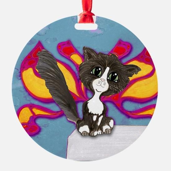 Tuxedo Cat Fairy Ornament