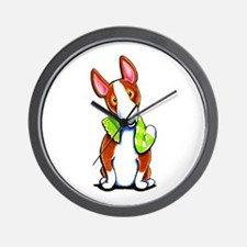 Red Bull Terrier Play Wall Clock