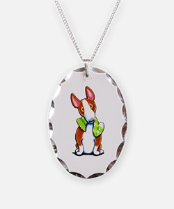 Red Bull Terrier Play Necklace Oval Charm