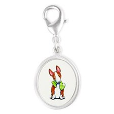 Red Bull Terrier Play Silver Oval Charm