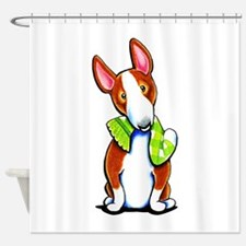 Red Bull Terrier Play Shower Curtain