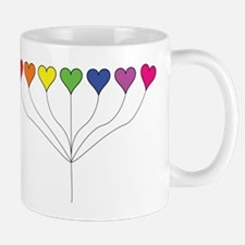 Seven Rainbow Colored Heart Balloons  Mug