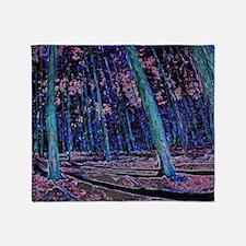 Magic forest purple blue Throw Blanket