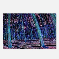 Magic forest purple blue Postcards (Package of 8)