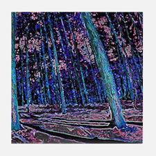Magic forest purple blue Tile Coaster