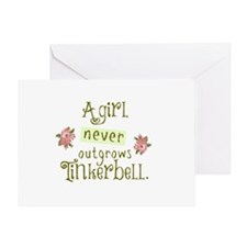 A Girl Never Outgrows Tinkerbell Greeting Cards