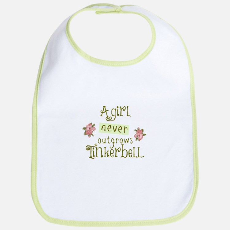 A Girl Never Outgrows Tinkerbell Bib