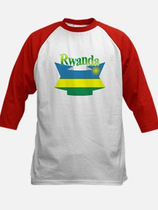 Rwanda flag ribbon Kids Baseball Jersey