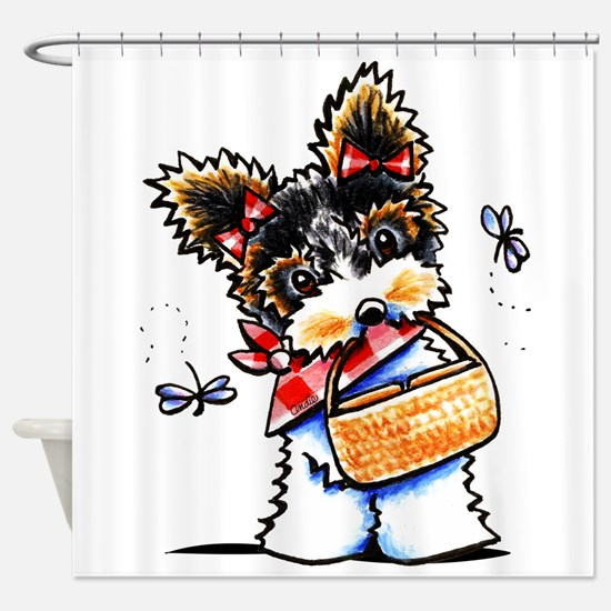 Biewer Yorkie Picnic Shower Curtain
