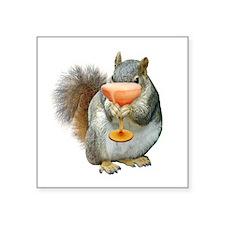 """Squirrel Drink Square Sticker 3"""" x 3"""""""