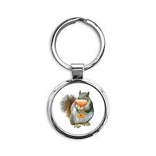 Squirrel Drink Round Keychain