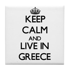 Keep Calm and Live In Greece Tile Coaster