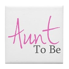 Aunt To Be (Pink Script) Tile Coaster