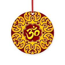 Golden Red Lotus Flower Yoga Om Ornament (Round)