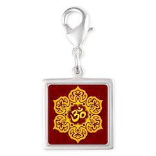 Golden Red Lotus Flower Yoga Om Charms