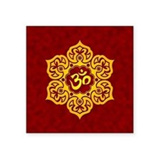 Golden Red Lotus Flower Yoga Om Sticker
