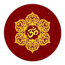 Golden Red Lotus Flower Yoga Om Round Car Magnet