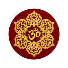 "Golden Red Lotus Flower Yoga Om 3.5"" Button (100 p"