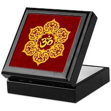 Golden Red Lotus Flower Yoga Om Keepsake Box
