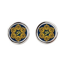 Golden Blue Lotus Flower Yoga Om Cufflinks
