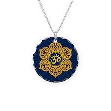 Golden Blue Lotus Flower Yoga Om Necklace Circle C