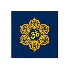 Golden Blue Lotus Flower Yoga Om Sticker