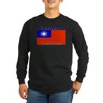 Taiwan Taiwanese Flag Long Sleeve Dark T-Shirt