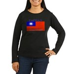 Taiwan Taiwanese Flag Women's Long Sleeve Dark T-S
