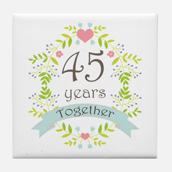 45th Anniversary flowers and hearts Tile Coaster
