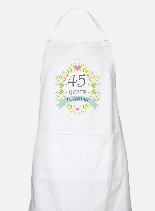 45th Anniversary flowers and hearts Apron