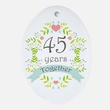 45th Anniversary flowers and heart Ornament (Oval)