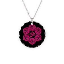 Pink and Black Lotus Flower Yoga Om Necklace Circl