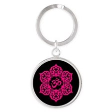 Pink and Black Lotus Flower Yoga Om Keychains