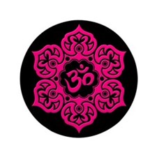 """Pink and Black Lotus Flower Yoga Om 3.5"""" Button (1"""